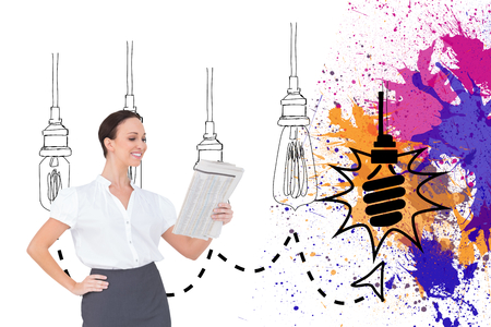 well read: Composite image of cheerful stylish businesswoman holding newspaper while posing