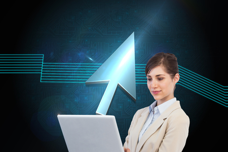 woman looking down: Composite image of confident businesswoman holding laptop