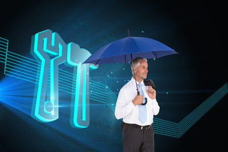 hair setting: Composite image of happy mature businessman holding umbrella Stock Photo