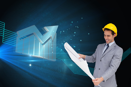 light brown hair: Composite image of smiling architect with hard hat looking at plans Stock Photo