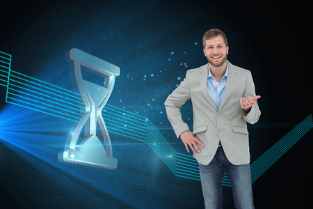 light brown hair: Composite image of stylish man smiling and gesturing with hand up  Stock Photo