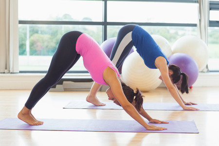 Side view of two fit young women doing the Downward Facing Dog pose on exercise mats photo