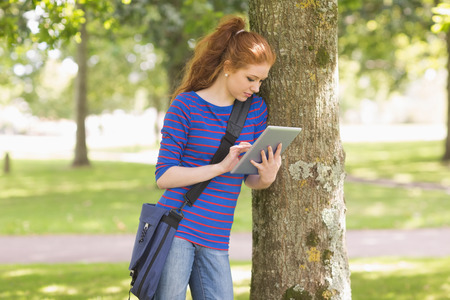 Redhead student leaning against a tree using her tablet pc on college campus photo