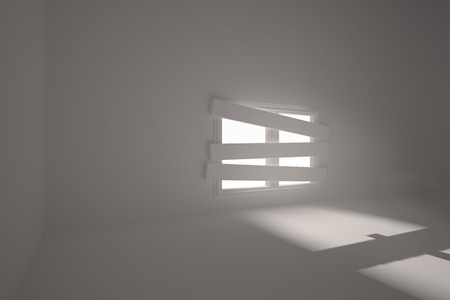 bordered: Digitally generated room with bordered up window Stock Photo