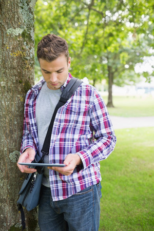 Focused student leaning on tree using his tablet pc on college campus photo