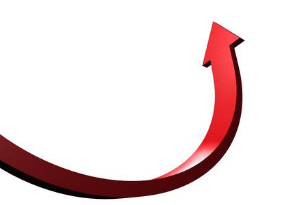 赤の曲線矢印上向き 写真素材