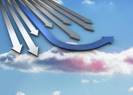 flechas curvas: Flechas azules y grises curvos apuntando contra el cielo