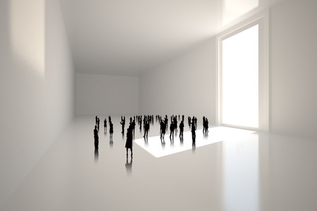 incidental people: Tiny figures in white room