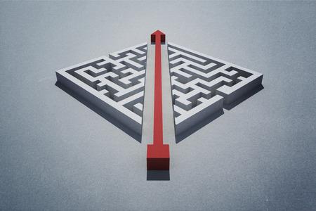 cutting through: Red arrow cutting through puzzle
