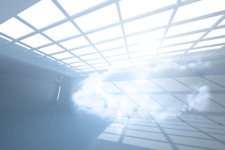 holographic: Room with holographic cloud Stock Photo