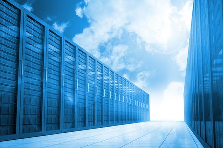 Server hallway in the blue sky Reklamní fotografie
