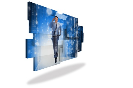 Businessman in data center on abstract screen photo