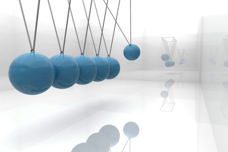 newton's cradle: Blue newtons cradle Stock Photo