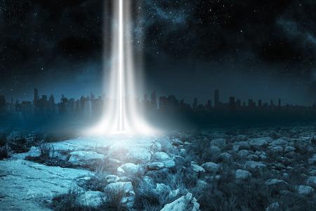 Rocky landscape with light beam 免版税图像