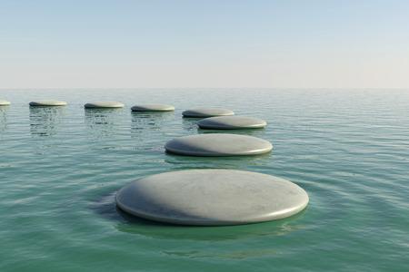 stepping stone: Zen rock pool Stock Photo