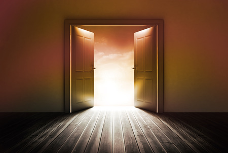 door opening: Door revealing bright light