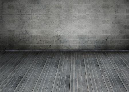 floorboards: Grey room Stock Photo