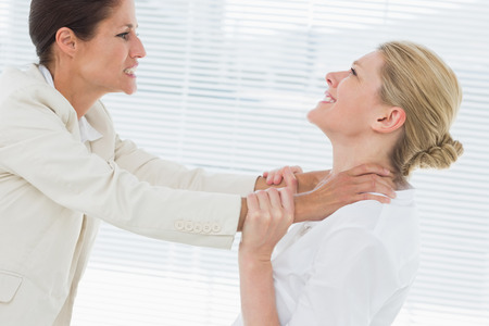 Side view of two young businesswomen having a violent fight in their office