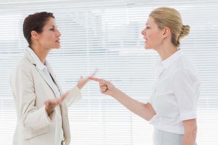 Side view of two businesswomen fighting in a bright office photo