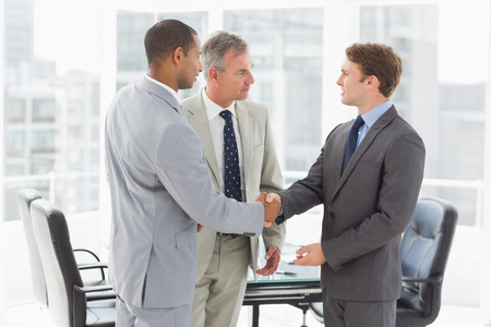 introducing: Businessman introducing new colleagues in the office Stock Photo