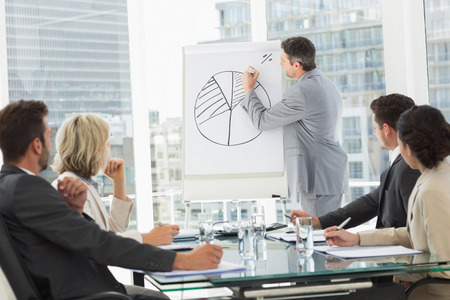 board meeting: Businessman presenting new project to partners  Stock Photo