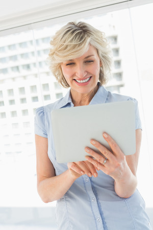 fair woman: Happy businesswoman using digital tablet in a bright office