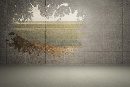 Splash on wall revealing country scene