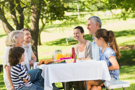 family dining: Side view of extended family dining at outdoor table Stock Photo