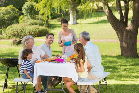 View of extended family dining at outdoor table photo