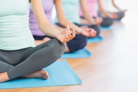 Closeup of cropped sporty women in lotus pose at a bright fitness studio Stock Photo