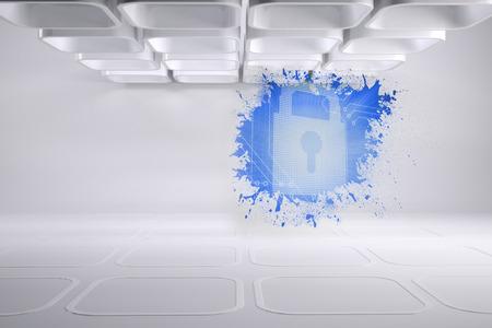 lock  futuristic: Splash mostrando serratura digitale Archivio Fotografico