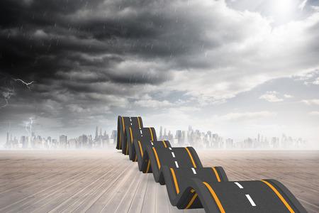 bumpy: Bumpy road leading to city Stock Photo