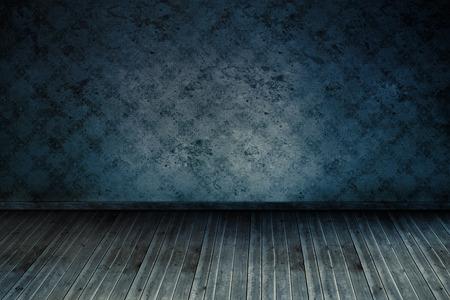 floorboards: Sitio oscuro azul con papel tapiz y tarima