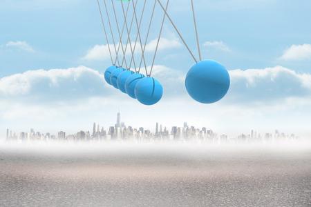 newton's cradle: Newtons cradle above city