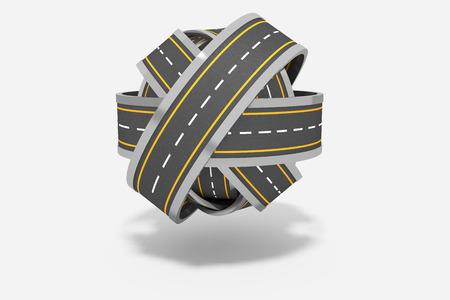 tangled roads: Ball of tangled roads Stock Photo