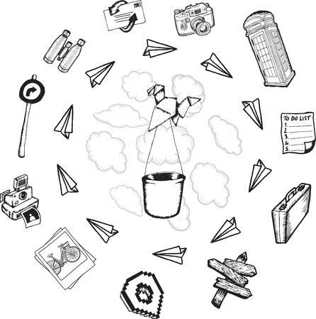 Travel illustrations on white background illustration