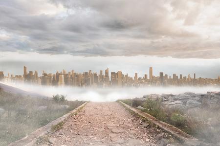 urban sprawl: Stony path leading to large urban sprawl