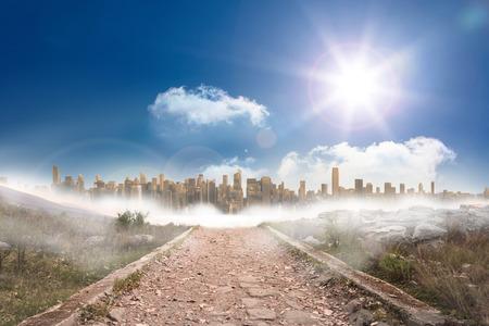 urban sprawl: Stony path leading to large urban sprawl under the sun