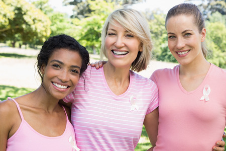 cancer de mama: Retrato de multi�tnicos mujeres voluntarias que participan en conciencia del c�ncer de mama en el parque Foto de archivo