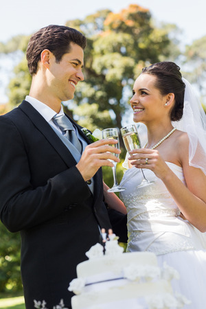 Happy young newlywed couple toasting champagne flutes besides cake at the park photo