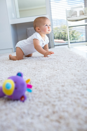 baby crawling: Side view of a cute baby crawling on carpet at home Stock Photo