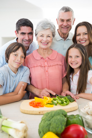 Portrait of smiling multigeneration family preparing food at kitchen counter photo