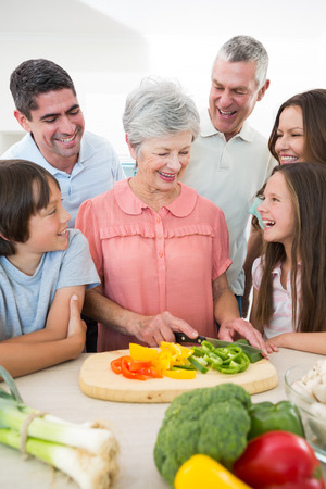 casuals: Smiling multigeneration family preparing food at counter Stock Photo
