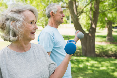 lifting hands: View of a mature couple using dumbbells at the park