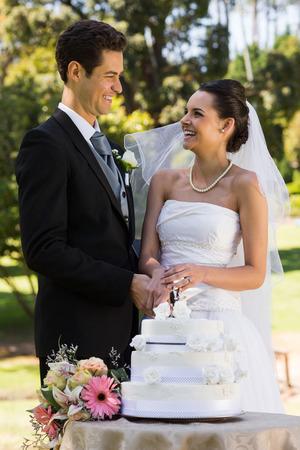 pastel boda: Feliz pareja de jóvenes recién casados ??corte de la torta de la boda en el parque Foto de archivo