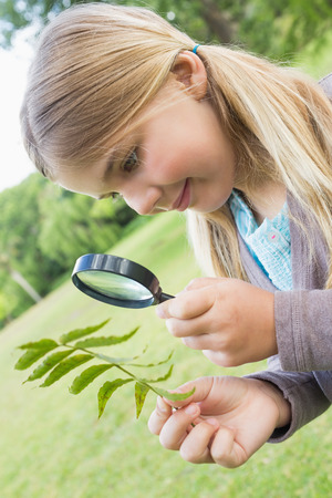 Young girl examining leaves with a magnifying glass at the park photo