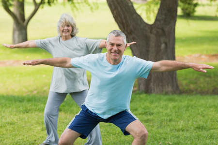 Portrait of a smiling mature couple exercising at the park photo