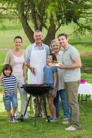 Portrait of an extended family standing at barbecue in the park photo