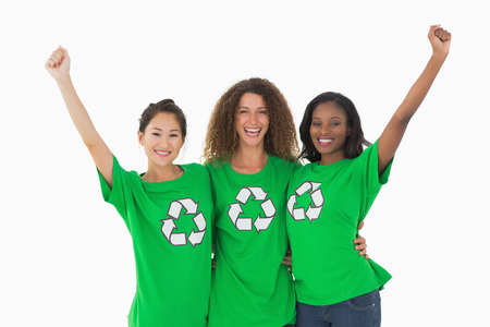 activists: Team of environmental activists cheering at camera on white background