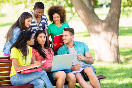 Group of college students studying on bench at campus photo